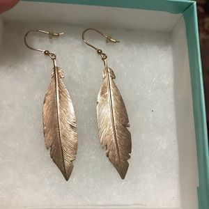 Jewelry - Rose Gold Plated Feather Earrings